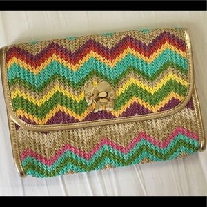 Lilly Pulitzer Elephant Multicolored Rattan Clutch